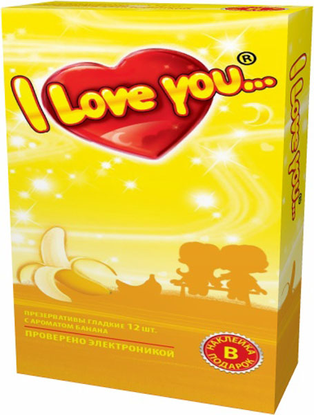 I Love You презервативы с ароматом банана, 12 шт izmeriteli dlinyi i parametrov svaj