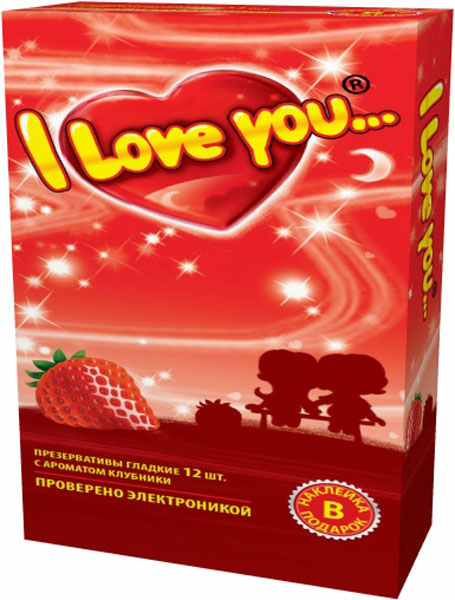 I Love You презервативы с ароматом клубники, 12 шт mister b gun oil h2o lubricant 118 мл лубрикант с алоэ вера
