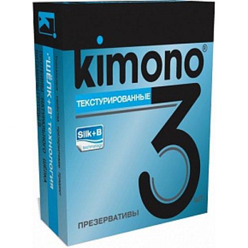Kimono презервативы текстурированные, 3 шт156-00-08KIMONO Текстурированные небольшие пупырышки для дополнительной стимуляции, добавят немного пикантности. Текстурированные презервативы в силиконовой смазке с накопителем. Произведены из отборного латекса, при изготовлении использованы самые современные технологии производства и контроля качества на всех этапах. Каждый презерватив проверен электроникой. Только для одноразового использования. Презервативы KIMONO при правильном использовании, обеспечивают надёжную защиту от нежелательной беременности и заболеваний передающихся половым путём в том числе и ВИЧ. Ни одно средство предохранения не гарантирует 100% защиты. Перед использованием необходимо ознакомится с инструкцией внутри упаковки. Фасовка презервативов KIMONO № 3 Текстурированные: в одном блоке (шоу-боксе) 12 упаковок, в каждой упаковке 3 презерватива.