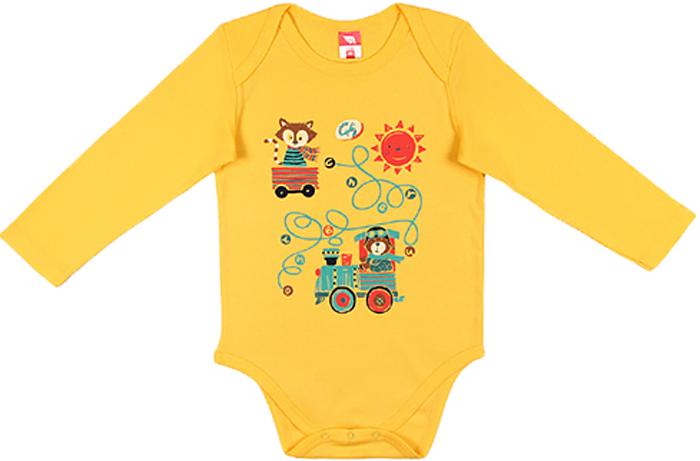 Боди для мальчика Cherubino, цвет: желтый. CWN 4140 (130). Размер 80 боди для мальчика cherubino цвет голубой cwn 4138 129 размер 80