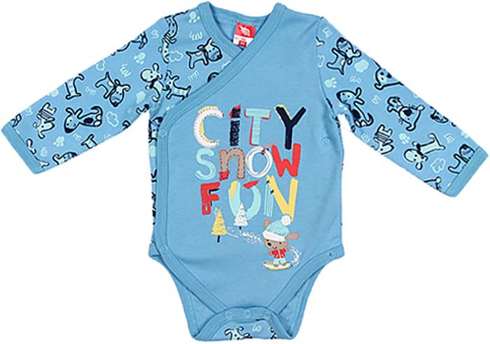 Боди для мальчика Cherubino, цвет: голубой. CWN 4138 (129). Размер 80 боди для мальчика spasilk цвет белый голубой зеленый 4 шт on s4hs2 размер xxl 18 месяцев