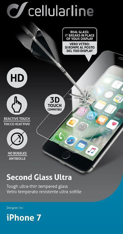 Cellular Line защитное стекло для iPhone 7/8TEMPGLASSIPH747Защитное стекло Cellular Line для iPhone 7 обеспечивает надежную защиту сенсорного экрана устройства от большинства механических повреждений и сохраняет первоначальный вид дисплея, его цветопередачу и управляемость. В случае падения стекло амортизирует удар, позволяя сохранить экран целым и избежать дорогостоящего ремонта. Стекло обладает особой структурой, которая держится на экране без клея и сохраняет его чистым после удаления. Силиконовый слой предотвращает разлет осколков при ударе.Подходит для iPhone 8.