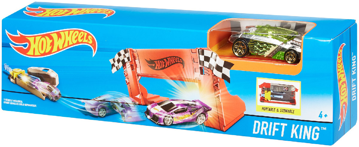 Hot Wheels Игрушечный трек Drift King коробки для хранения hot wheels портативный кейс для хранения 18 машинок hot wheels цвет зеленый