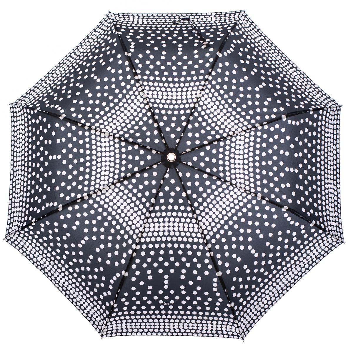 Зонт женский Stilla, цвет: черный. 775/2 mini39890|Колье (короткие одноярусные бусы)Облегченный женский зонтик. Конструкция 3 сложения, полный автомат, облегченная конструкция (вес - 320 гр), система антиветер. Ткань - полиэстер. Диаметр купола - 112 см по верхней части, 101 см по нижней. Длина в сложенном состоянии - 27 см.