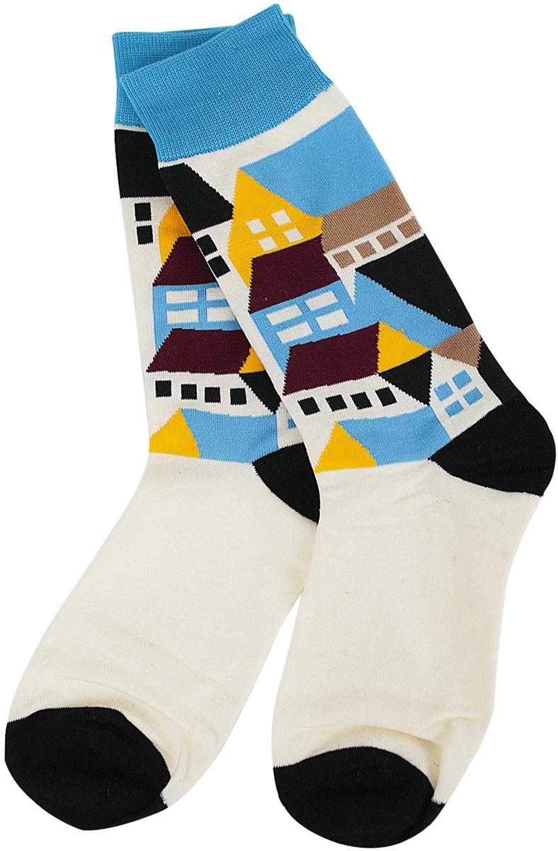 Носки женские Kawaii Factory Домики, цвет: белый, черный. 2006000072939. Размер 40/42 носки kawaii factory носки треугольники желтые