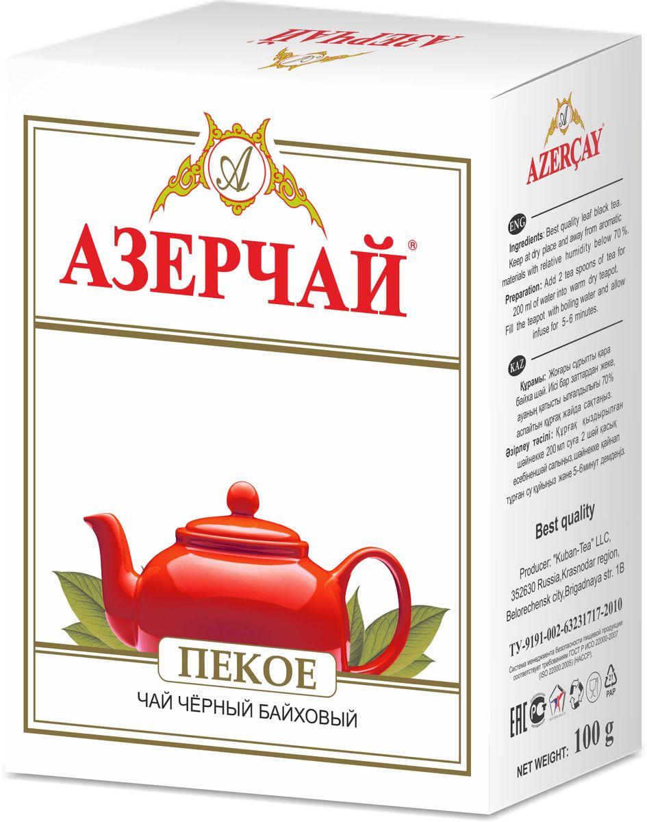 Азерчай Пеко чай черный листовой, 100 г4630006825015Черный чай высшего сорта. Хранить в сухом помещении от пахучих веществ, при относительной влажности не более 70%. Способ приготовления: в сухой разогретый чайник добавить чай из расчета 2 чайные ложки на каждые 200 мл воды, залить чайник кипятком и дать настояться 6-7 минут.