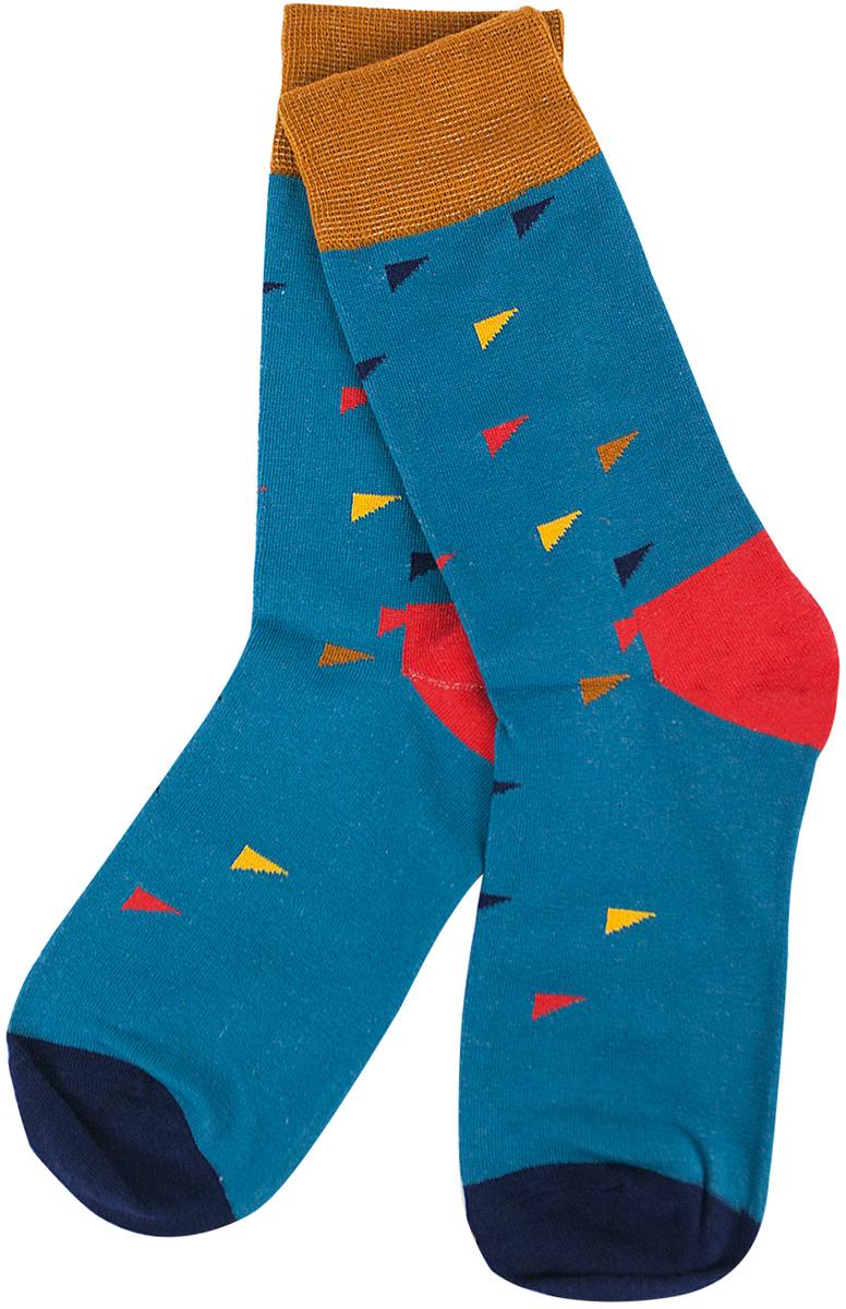 Носки женские Kawaii Factory Треугольники, цвет: бирюзовый. 2006000072960. Размер 40/42 носки kawaii factory носки треугольники желтые