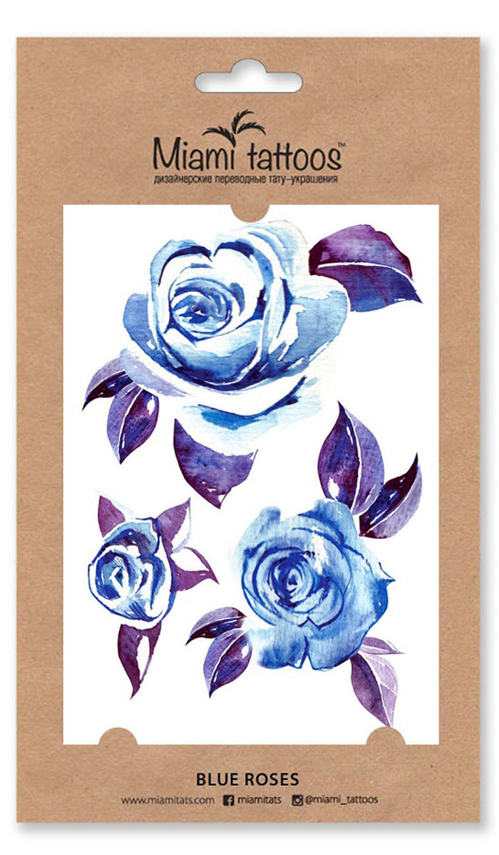 Miami Tattoos Акварельные переводные тату Blue Roses, 1 лист, 10 см х 15 см flash tattoos sheebani authentic metallic temporary tattoos