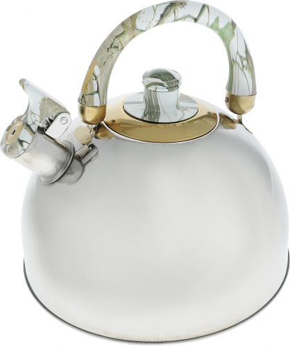 Чайник Bohmann, со свистком, цвет: зеленый, мраморный, 3,5 л чайник bohmann со свистком цвет мраморный зеленый 4 5 л bhl 644