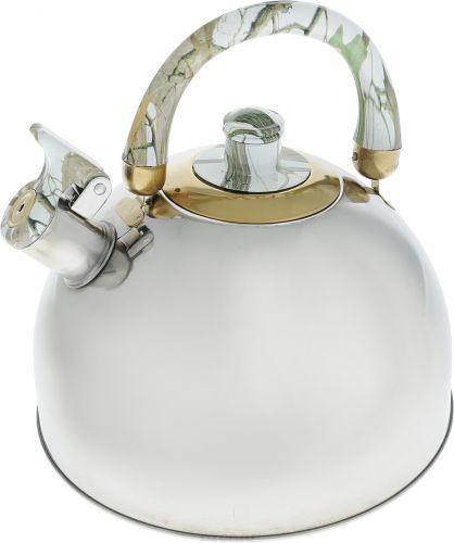Чайник Bohmann, со свистком, цвет: зеленый, мраморный, 2,5 л624BHLЧайник Bohmann изготовлен из нержавеющей стали с зеркальной полировкой. Высококачественная сталь представляет собой материал, из которого в течение нескольких десятилетий во всем мире производятся столовые приборы, кухонные инструменты и различные аксессуары. Этот материал обладает высокой стойкостью к коррозии и кислотам. Прочность, долговечность и надежность этого материала, а также первоклассная обработка обеспечивают практически неограниченный запас прочности и неизменно привлекательный внешний вид.Чайник оснащен удобной ручкой из бакелита. Ручка не нагревается, что предотвращает появление ожогов и обеспечивает безопасность использования. Носик чайника имеет откидной свисток для определения кипения.Можно использовать на всех типах плит, кроме индукционных. Можно мыть в посудомоечной машине.Диаметр (по верхнему краю): 8,5 см. Высота чайника (без учета ручки): 10 см. Высота чайника (с учетом ручки): 19,5 см. Диаметр основания: 14 см.