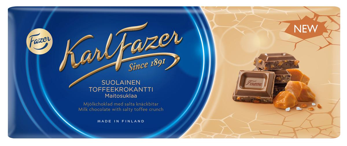 Karl Fazer молочный шоколад с крошкой соленой карамели, 200 г с пудовъ кисель молочный ванильный 40 г
