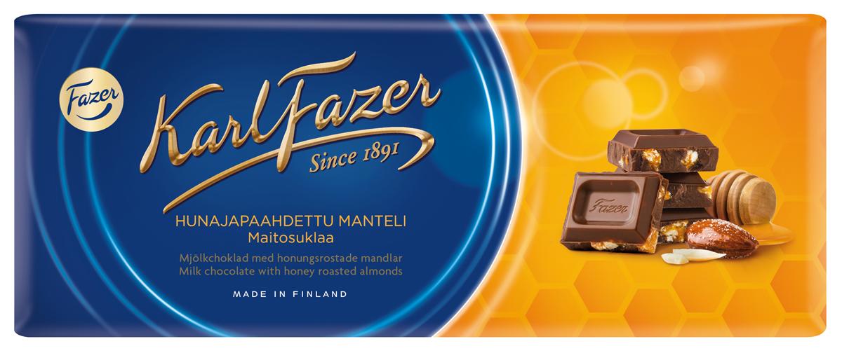Karl Fazer молочный шоколад с жареным миндалем и медом, 200 г молочный стиль простокваша 4% 250 г
