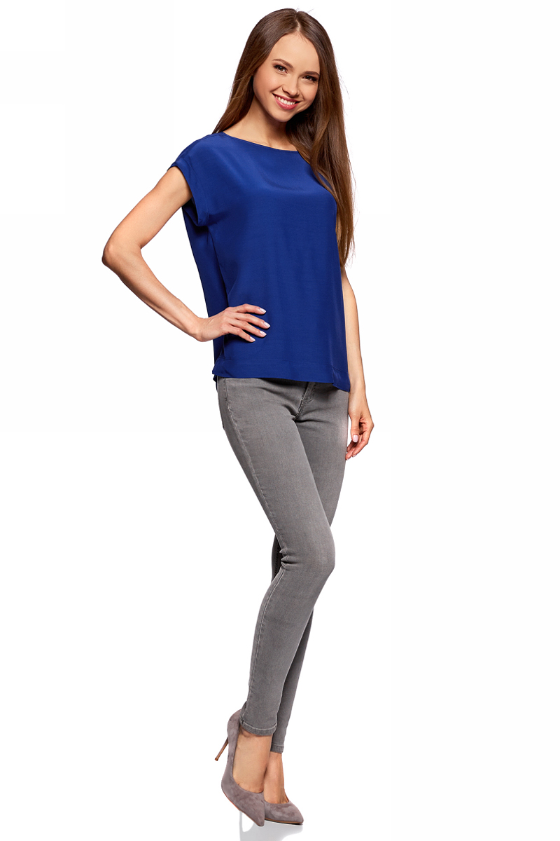 Блузка женская oodji Collection, цвет: синий. 21405137/46868/7500N. Размер 42-170 (48-170) платье oodji collection цвет синий 24007026 37809 7500n размер l 48