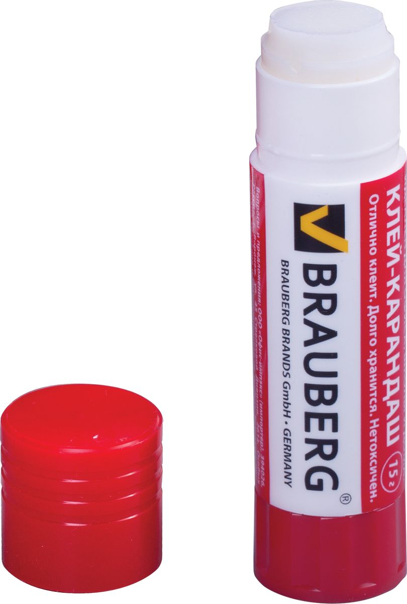 Brauberg Клей-карандаш220870Новая формула клея Brauberg гарантирует надежное склеивание бумаги, картона и фотобумаги. После нанесения высыхает без образования пятен. Безопасен для здоровья.