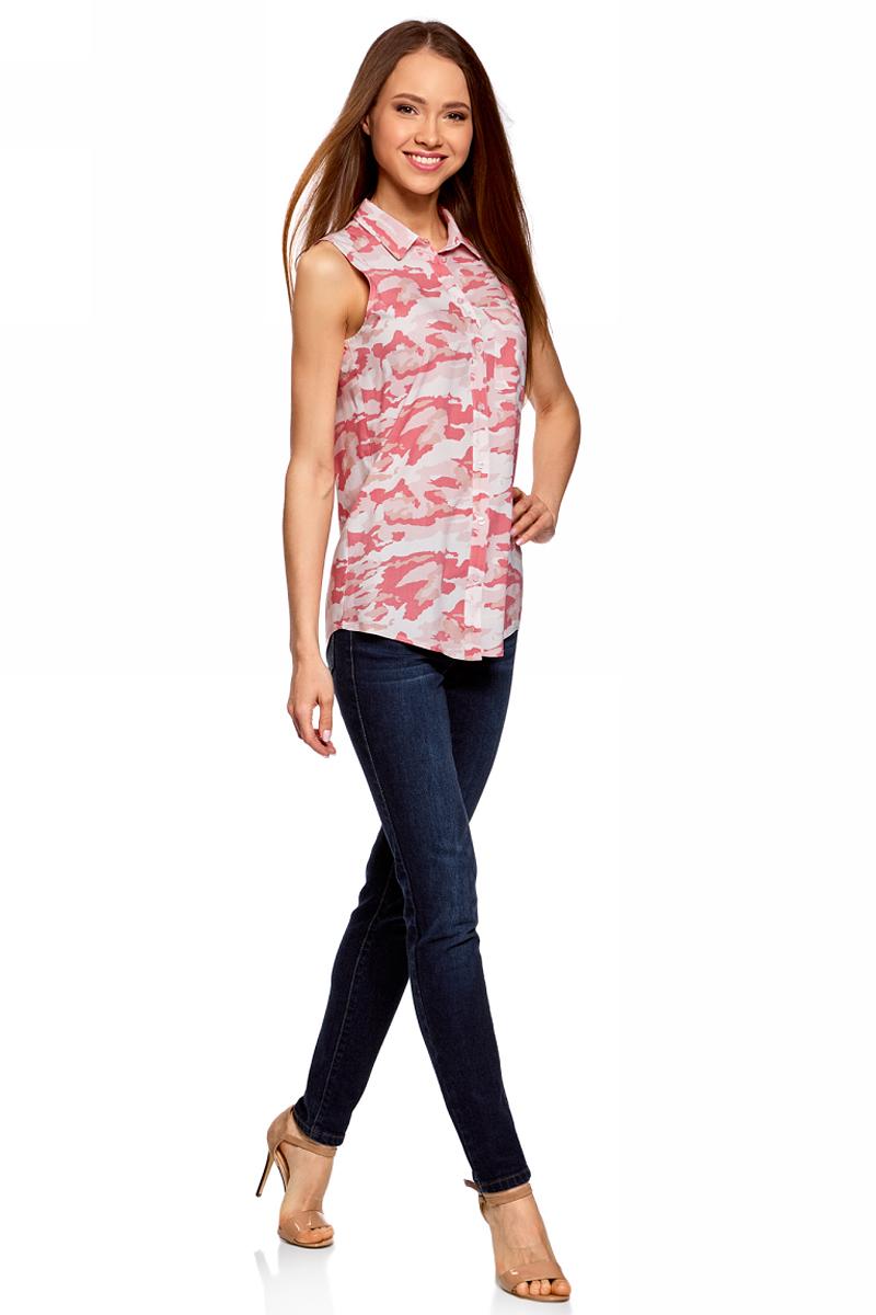 Блузка женская oodji Ultra, цвет: светло-розовый, розовый. 11411108B/26346/4041O. Размер 42-170 (48-170) блузка женская oodji ultra цвет светло розовый белый 11403227b 14885 4010d размер 34 170 40 170