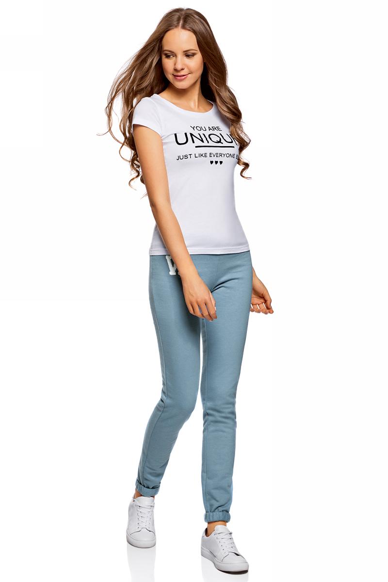 Брюки спортивные женские oodji Ultra, цвет: голубой. 16701010-3/46980/7400N. Размер L (48) oodji 11914001 46116 7400n