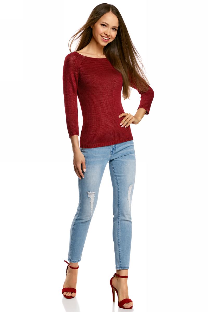 Джемпер женский oodji Ultra, цвет: красный. 63803046-3B/31326/4500N. Размер L (48)63803046-3B/31326/4500NУютный женский джемпер с вырезом горловины лодочка и рукавами-реглан длиной 3/4 выполнен из акриловой пряжи.