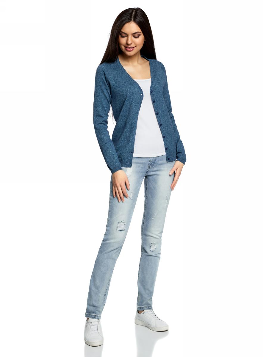 Кардиган женский oodji Ultra, цвет: темно-синий, бирюзовый. 63212580B/46801/7973M. Размер XS (42) женский кардиган 013a56