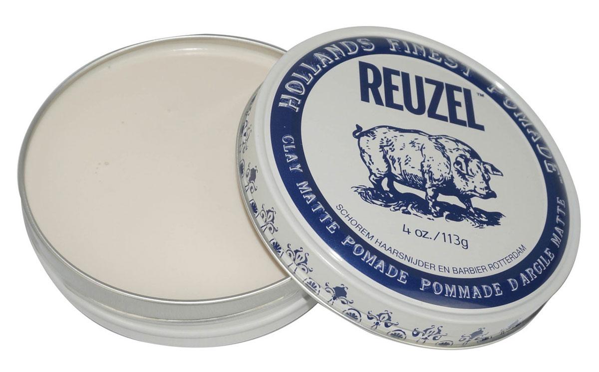 Reuzel матовая глина для укладки волос, белая банка 113 гр