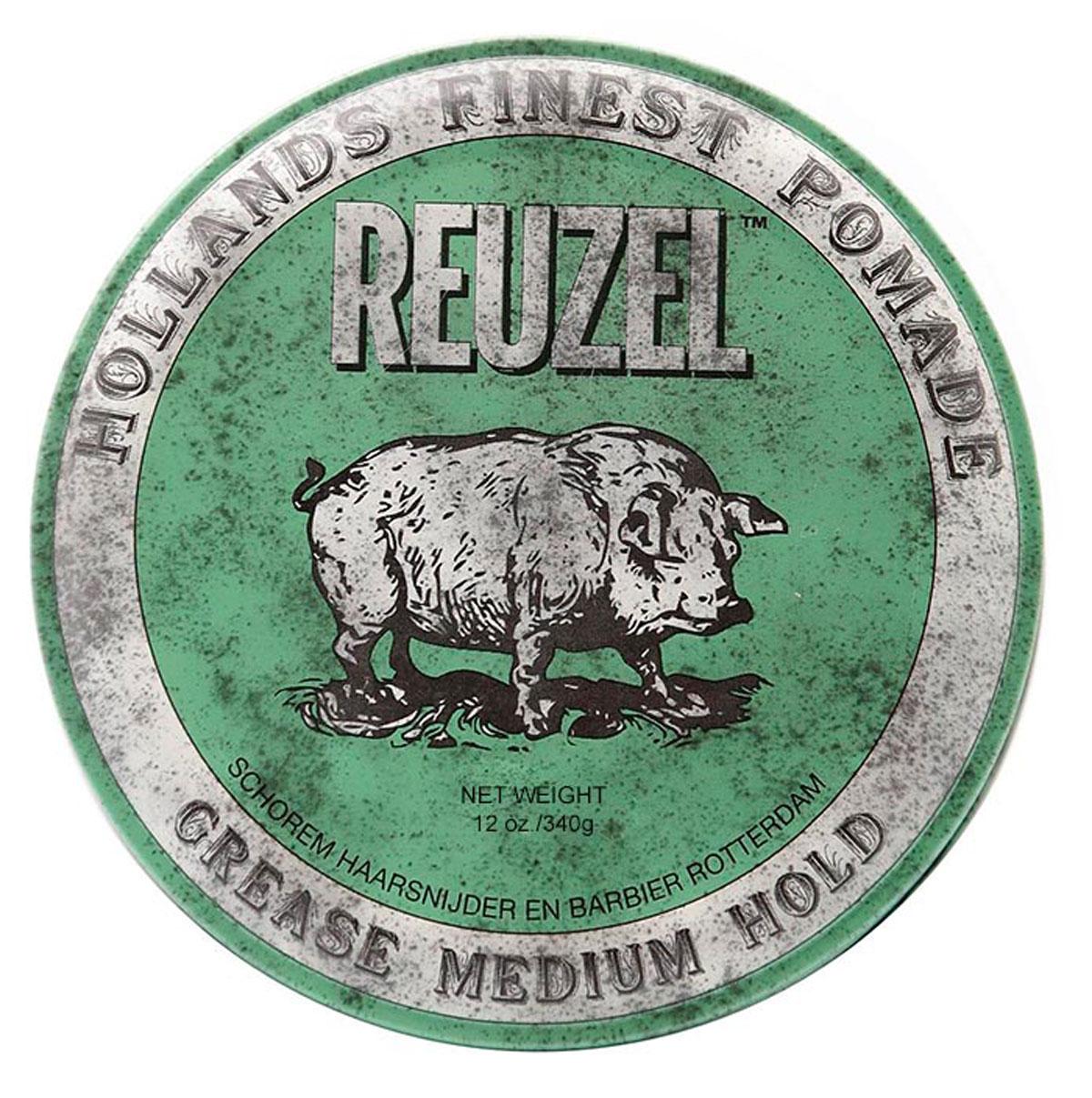 Reuzel помада для укладки волос, зеленая банка 340грREU007Reuzel Grease - это помада на основе воска и масла безупречного качества. Дает мягкое среднее сияние и превосходную фиксацию. Reuzel Grease Pomade идеально подходит как для классики: помпадур, квифф, контур, так и для современных смелых форм. Помада подходит для нормальных и плотных волос, обеспечивает сильную (жесткую) фиксацию, позволяя придавать прическе любую форму. Помада обладает ароматом яблока и перечной мяты.
