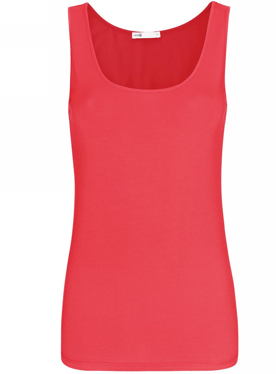 Майка женская oodji Collection, цвет: ярко-розовый. 24315001B/46147/4D00N. Размер L (48) платье oodji collection цвет черный белый 24001104 1 35477 1079s размер l 48