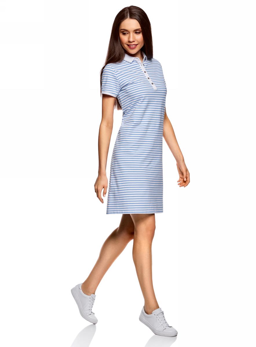 Платье oodji Collection, цвет: голубой, белый. 24001118-1/47005/7010S. Размер XS (42)24001118-1/47005/7010SПлатье-поло от oodji выполнено из ткани пике. Модель с короткими рукавами и отложным воротником на груди застегивается на пуговицы.