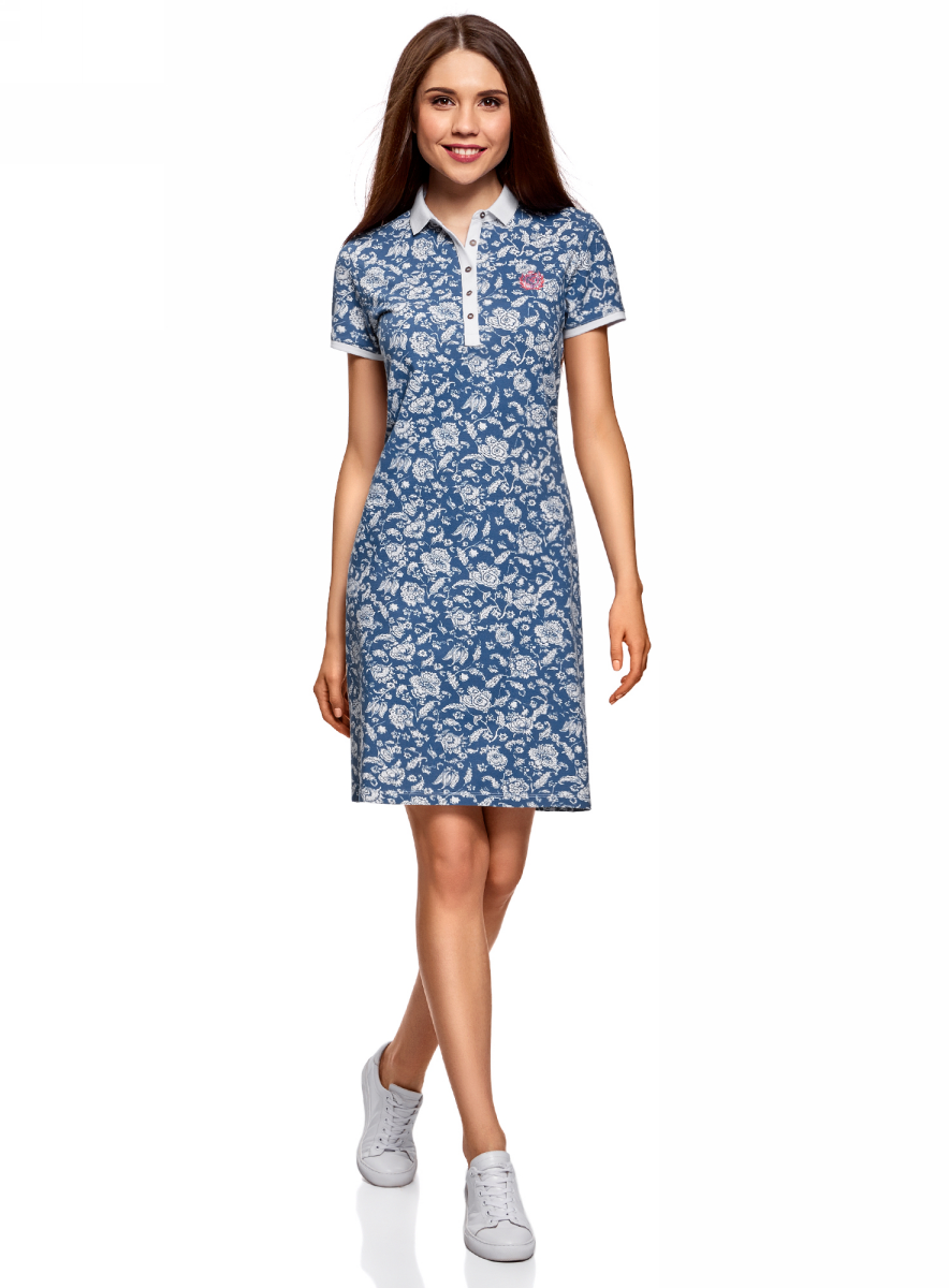 Платье oodji Collection, цвет: голубой, белый. 24001118-2/47005/7010E. Размер L (48) платье oodji collection цвет черный 73912217 2b 33506 2900n размер l 48