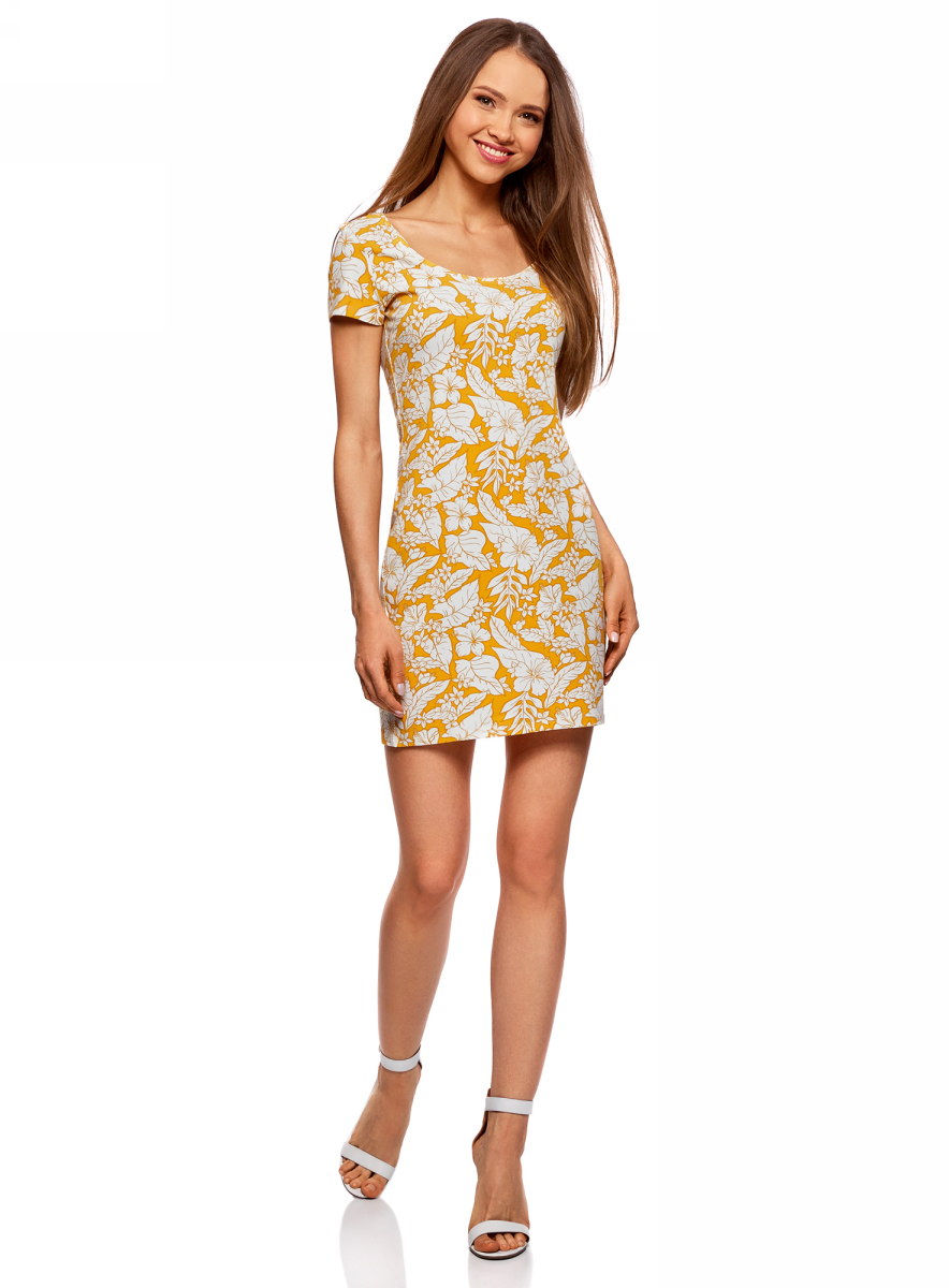 Платье oodji Ultra, цвет: желтый, кремовый. 14001182B/47420/5230F. Размер L (48)14001182B/47420/5230FОблегающее платье oodji Ultra выполнено из качественного трикотажа. Модель мини-длины с круглым вырезом горловиныи короткими рукавами выгодно подчеркивает достоинства фигуры.