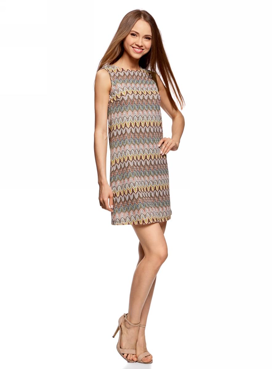 Платье oodji Ultra, цвет: коричневый, зеленый. 14005137/45509/3762E. Размер XS (42)14005137/45509/3762EПлатье oodji изготовлено из качественного полиэстера. Модель-мини выполнена без рукавов и с круглым вырезом. Платье декорировано этническим узором.