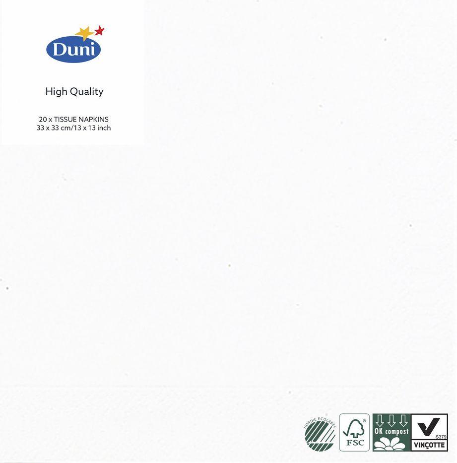 Салфетки бумажные Duni, 3-слойные, цвет: белый, 33 х 33 см, 20 шт104030Трехслойные бумажные салфетки изготовлены из экологически чистого, высококачественного сырья - 100% целлюлозы. Салфетки выполнены в оригинальном и современном стиле, прекрасно сочетаются с любым интерьером и всегда будут прекрасным и незаменимым украшением стола.