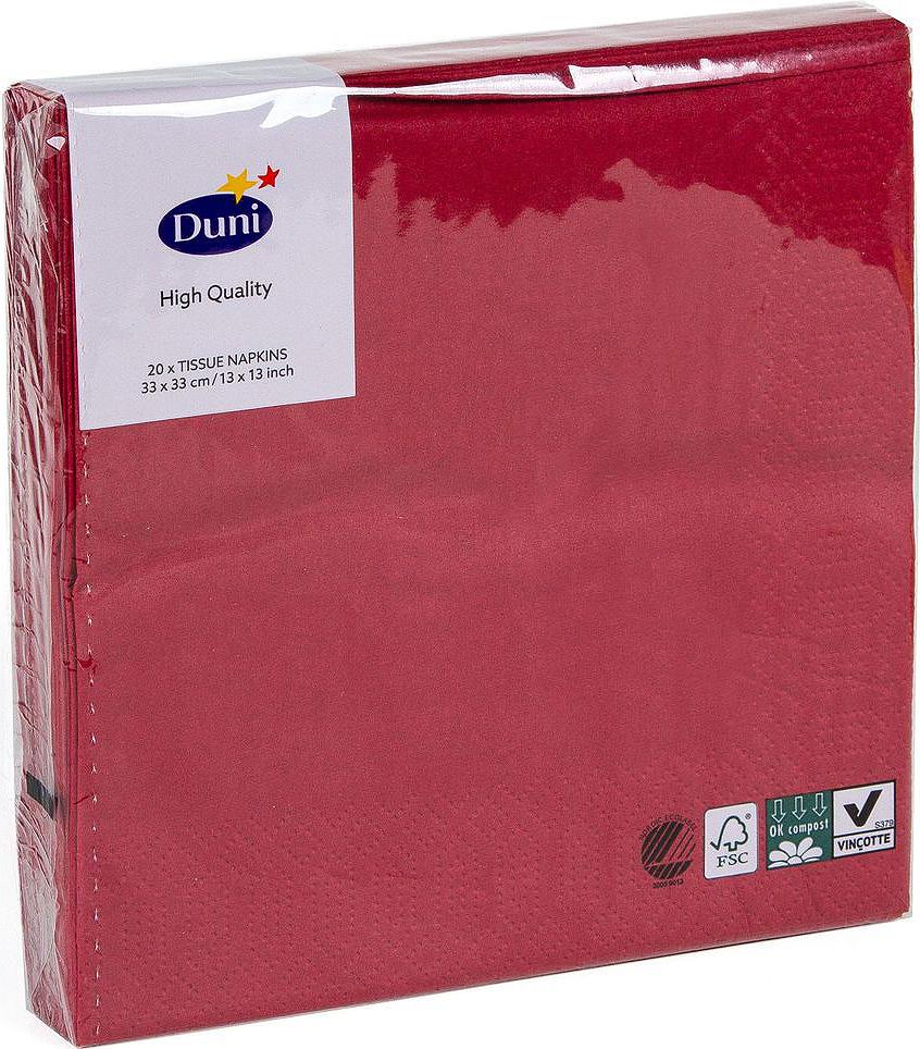Салфетки бумажные Duni, 3-слойные, цвет: бордовый, 33 х 33 см, 20 шт104045Трехслойные бумажные салфетки изготовлены из экологически чистого, высококачественного сырья - 100% целлюлозы. Салфетки выполнены в оригинальном и современном стиле, прекрасно сочетаются с любым интерьером и всегда будут прекрасным и незаменимым украшением стола.