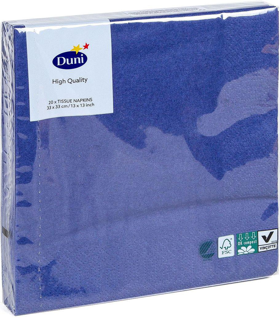 Салфетки бумажные Duni, 3-слойные, цвет: синий, 33 х 33 см, 20 шт салфетки бумажные duni 125 шт 2 слойные 40 х 40 см цвет красный 180415 page 1