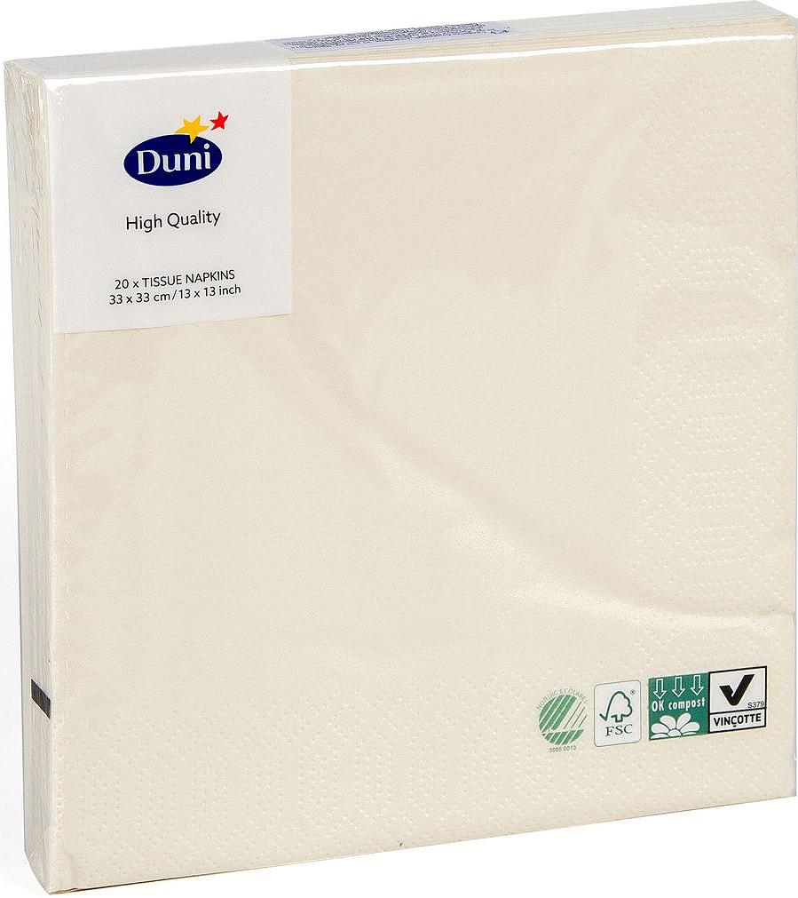 Салфетки бумажные Duni, 3-слойные, цвет: слоновая кость, 33 х 33 см, 20 шт104955Трехслойные бумажные салфетки изготовлены из экологически чистого, высококачественного сырья - 100% целлюлозы. Салфетки выполнены в оригинальном и современном стиле, прекрасно сочетаются с любым интерьером и всегда будут прекрасным и незаменимым украшением стола.