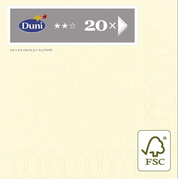 Салфетки бумажные Duni, 3-слойные, цвет: слоновая кость, 24 х 24 см, 20 шт. 105747105747Трехслойные бумажные салфетки изготовлены из экологически чистого, высококачественного сырья - 100% целлюлозы. Салфетки выполнены в оригинальном и современном стиле, прекрасно сочетаются с любым интерьером и всегда будут прекрасным и незаменимым украшением стола.