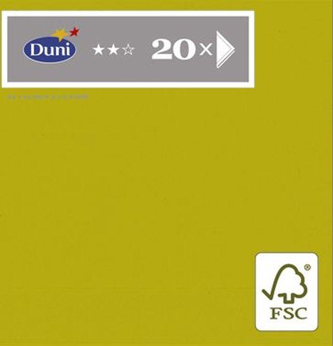 Салфетки бумажные Duni, 3-слойные, цвет: оливковый, 24 х 24 см, 20 шт. 148735 бумажные салфетки duni салфетки бумажные 3 слойные зеленая 33х33 см 20 шт