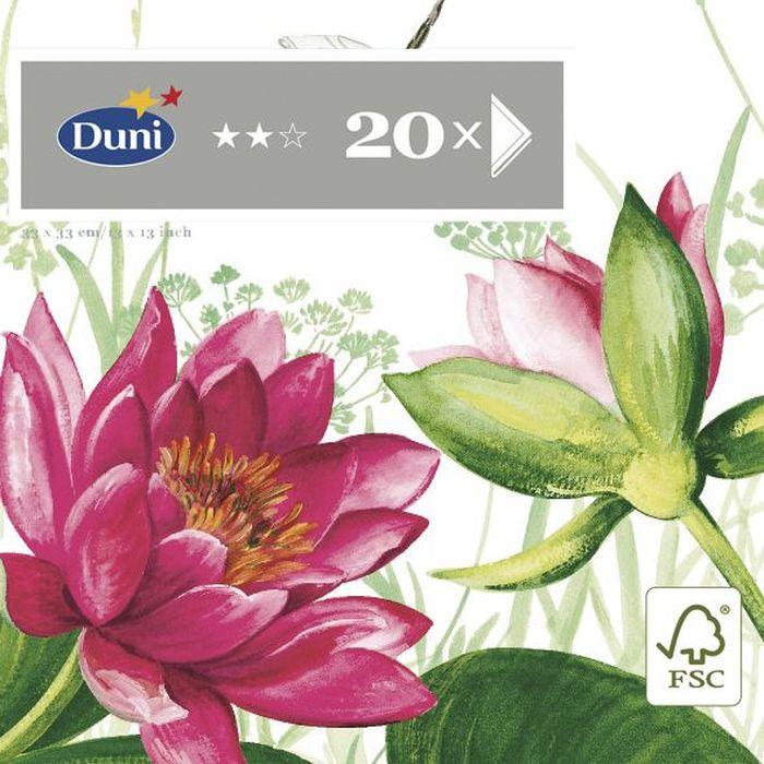 Салфетки бумажные Duni Лилия, 3-слойные, 33 х 33 см, 20 шт158967Трехслойные бумажные салфетки изготовлены из экологически чистого, высококачественного сырья - 100% целлюлозы. Салфетки выполнены в оригинальном и современном стиле, прекрасно сочетаются с любым интерьером и всегда будут прекрасным и незаменимым украшением стола.