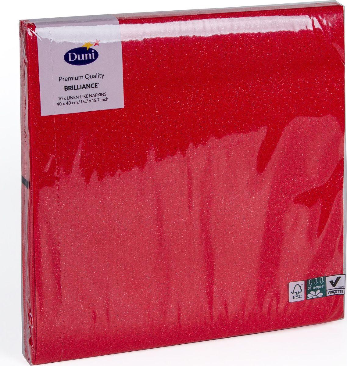 Салфетки бумажные Duni Lin. Brilliance, цвет: красный, 40 см160515Многослойные бумажные салфетки изготовлены из экологически чистого, высококачественного сырья - 100% целлюлозы. Салфетки выполнены в оригинальном и современном стиле, прекрасно сочетаются с любым интерьером и всегда будут прекрасным и незаменимым украшением стола.
