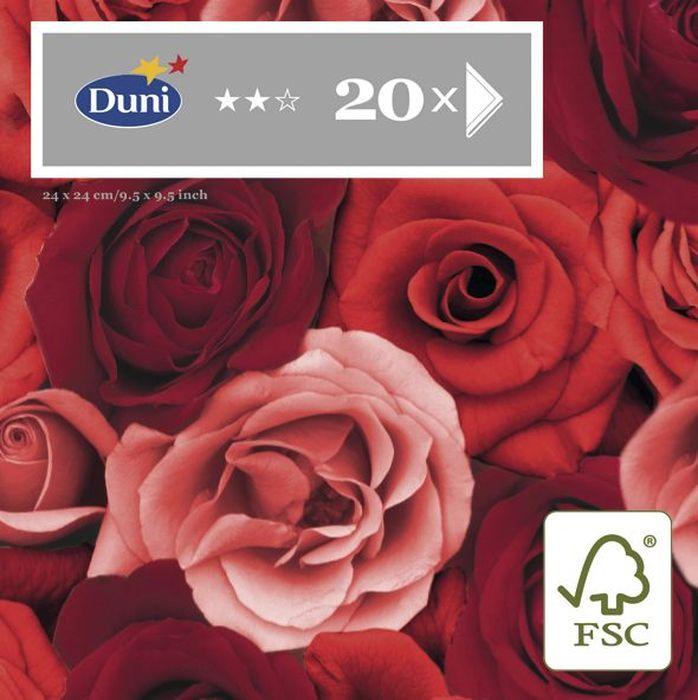 Салфетки бумажные Duni Romance, 3-слойные, 24 х 24 см, 20 шт164921Трехслойные бумажные салфетки изготовлены из экологически чистого, высококачественного сырья - 100% целлюлозы. Салфетки выполнены в оригинальном и современном стиле, прекрасно сочетаются с любым интерьером и всегда будут прекрасным и незаменимым украшением стола.