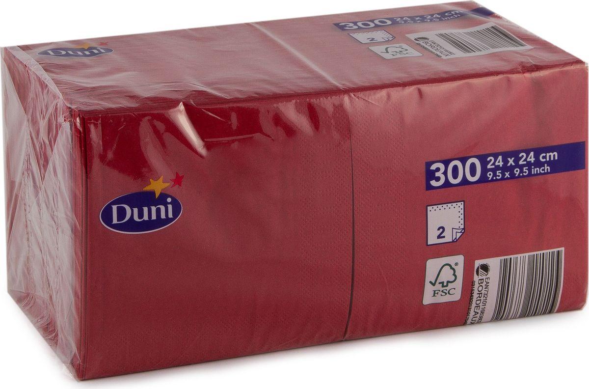 Салфетки бумажные  Duni , 2-слойные, цвет: бордовый, 24 х 24 см - Одноразовая посуда