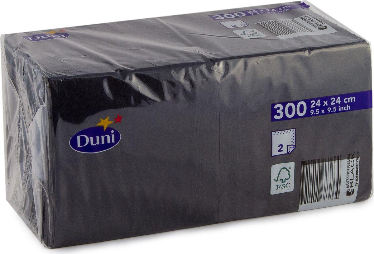 Салфетки бумажные  Duni , 2-слойные, цвет: черный, 24 х 24 см - Одноразовая посуда