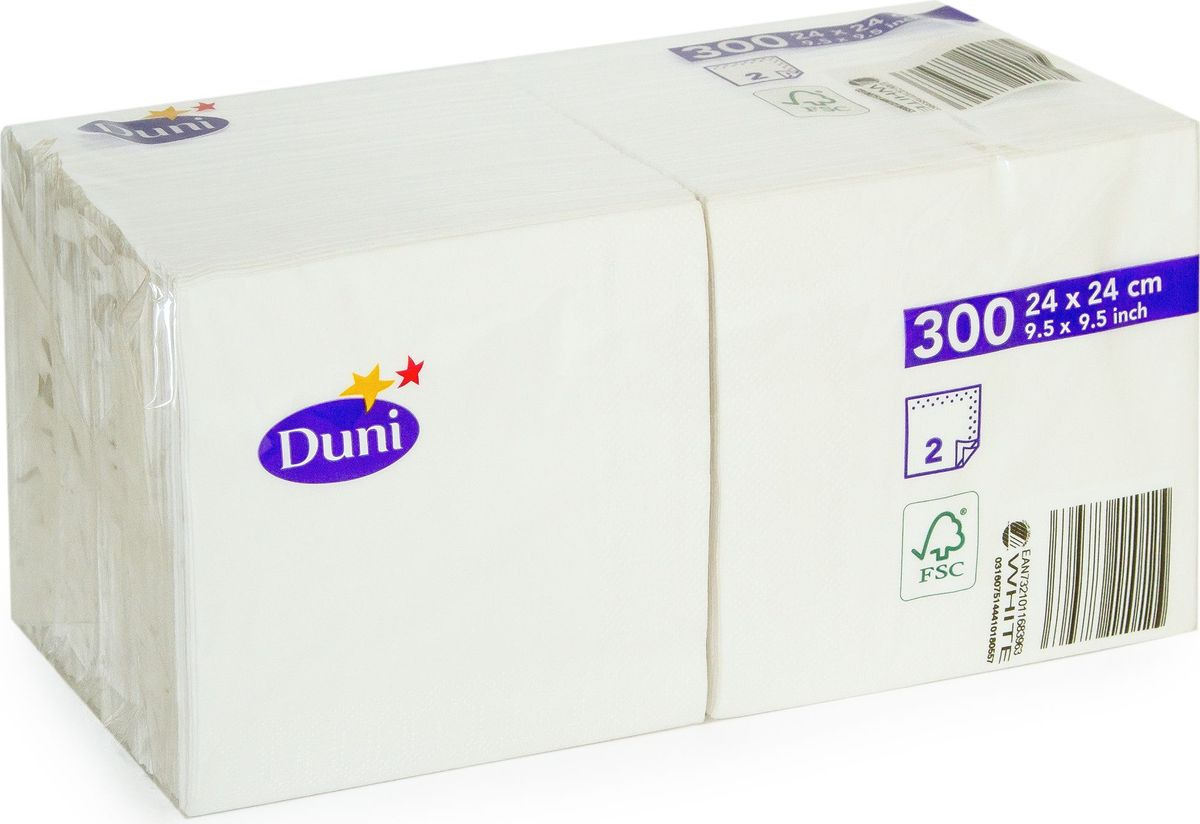 Салфетки бумажные Duni, 2-слойные, цвет: белый, 24 х 24 см, 12 шт168396Двухслойные бумажные салфетки Duni изготовлены из экологически чистого, высококачественного сырья - 100% целлюлозы. Они выполнены в оригинальном и современном стиле, прекрасно сочетаются с любым интерьером и всегда будут прекрасным и незаменимым украшением стола.Размер салфеток: 24 х 24 см.