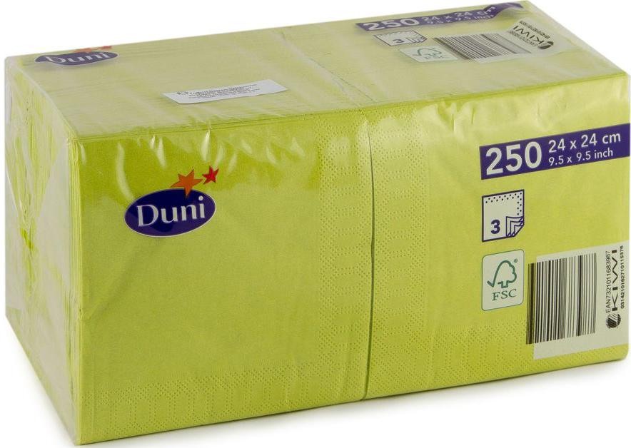 Салфетки бумажные  Duni , 3-слойные, цвет: оливковый, 24 х 24 см, 20 шт. 168398 - Одноразовая посуда