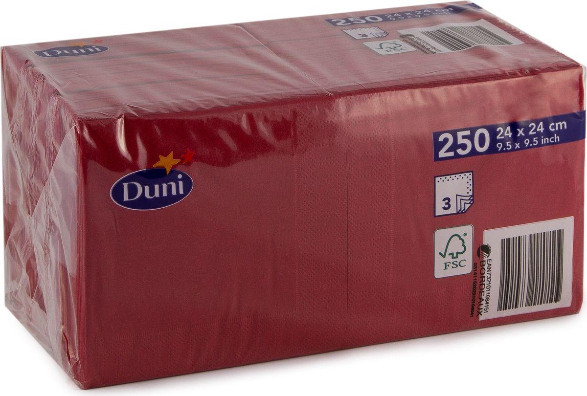 Салфетки бумажные  Duni , 3-слойные, цвет: бордовый, 24 х 24 см, 20 шт. 168415 - Одноразовая посуда