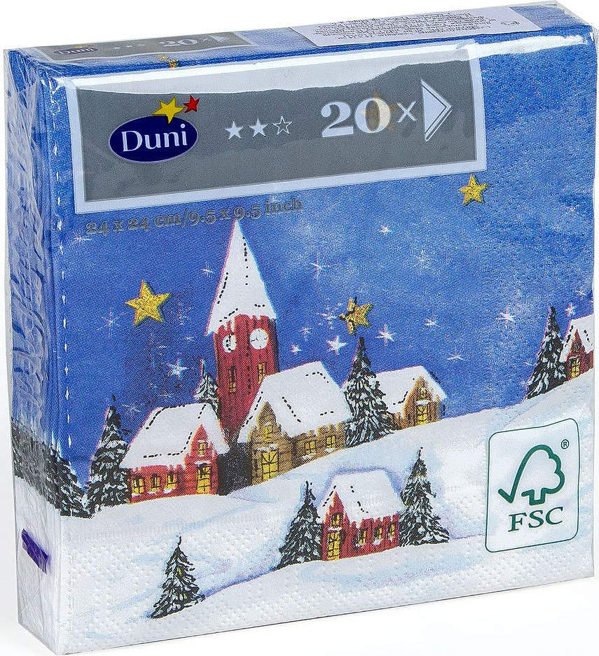 Салфетки бумажные Duni Snowscape, 3-слойные, 24 х 24 см салфетки duni салфетки d lin 40cm brilliance white