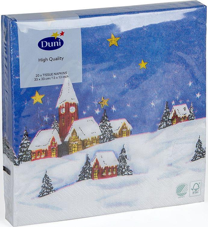 Салфетки бумажные Duni Snowscape, 3-слойные, 33 х 33 см бумажные салфетки duni салфетки бумажные 3 слойные 33 х 33 см белые 20 шт