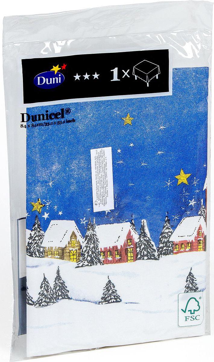 Скатерть одноразовая Dunicel Snowscape, наперон, цвет: синий, 84 х 84 см скатерти duni скатерть 125х180 бум d cel зеленая 1шт