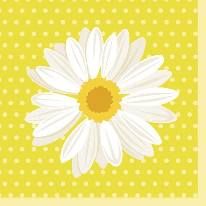Салфетки бумажные Duni My Daisy, 3-слойные, 24 х 24 см, 20 шт173398Трехслойные бумажные салфетки изготовлены из экологически чистого, высококачественного сырья - 100% целлюлозы. Салфетки выполнены в оригинальном и современном стиле, прекрасно сочетаются с любым интерьером и всегда будут прекрасным и незаменимым украшением стола.