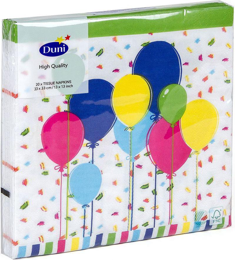 Салфетки бумажные Duni Balloons And Confet, 3-слойные, 33 х 33 см173419Трехслойные бумажные салфетки изготовлены из экологически чистого, высококачественного сырья - 100% целлюлозы. Салфетки выполнены в оригинальном и современном стиле, прекрасно сочетаются с любым интерьером и всегда будут прекрасным и незаменимым украшением стола.