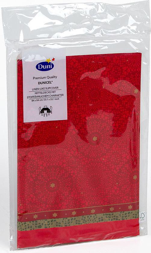 Скатерть одноразовая Dunicel Festive Charm, наперон, цвет: красный, 84 х 84 см скатерти duni скатерть 138х220 d s