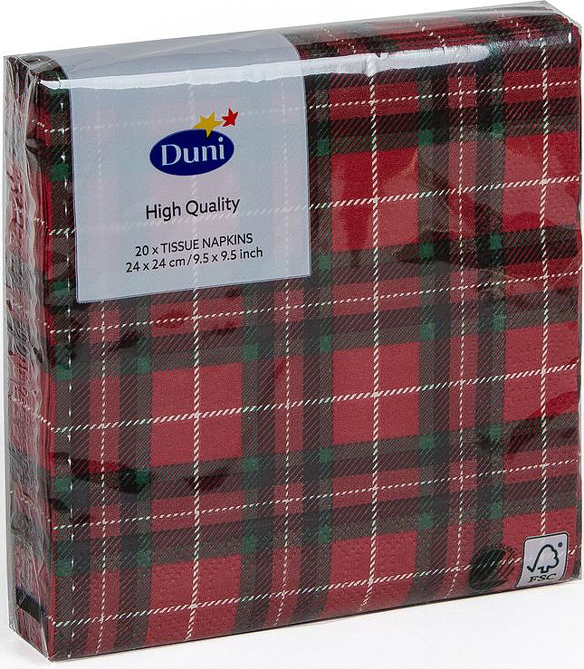 Салфетки бумажные Duni Tartan, 3-слойные, 24 х 24 см, 20 шт174907Трехслойные бумажные салфетки Duni Tartan изготовлены из экологически чистого, высококачественного сырья - 100% целлюлозы. Они выполнены в оригинальном и современном стиле, прекрасно сочетаются с любым интерьером и всегда будут прекрасным и незаменимым украшением стола.Размер салфеток: 24 х 24 см.